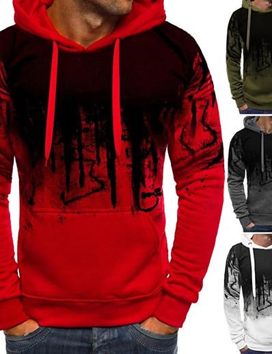 cheap Running, Jogging & Walking-Men's Hoodie Sweatshirt Casual Athleisure Winter Long Sleeve Thermal Warm Soft Gym Workout Running Jogging Exercise Sportswear ArmyGreen White Red Gray Activewear Micro-elastic
