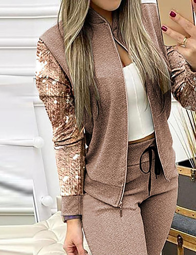 cheap JUMPSUITS & ROMPERS-Women's Streetwear Print Plain Casual / Daily Work Two Piece Set Stand Collar Blouse Shirt Pant Sequins Patchwork Tops / Loose