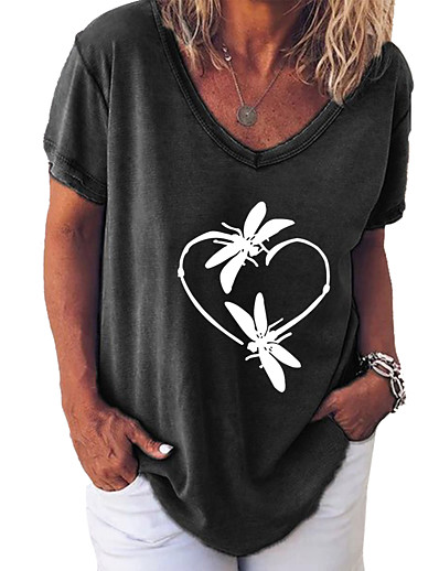abordables Tops Grandes Tailles Femme-Femme Grandes Tailles Blouse Chemise Papillon Animal Imprimé Col en V Hauts Chic de Rue Haut de base