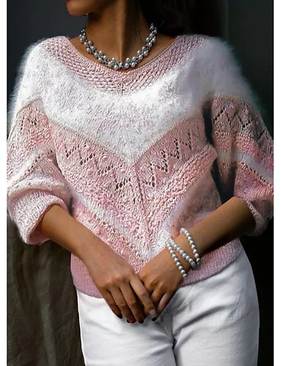 cheap Sweaters & Cardigans-Women's Pullover Sweater Color Block Knitted Hole Casual Long Sleeve Sweater Cardigans Fall Winter V Neck Light Blue Blushing Pink / Holiday