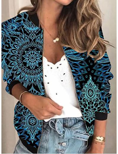 cheap Outerwear-Women's Print Patchwork 3D Print Spring &  Fall Jacket Regular Going out Long Sleeve Rayon Coat Tops Royal Blue