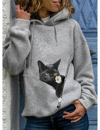 cheap Hoodies & Sweatshirts-Women's Hoodie Pullover Cat Graphic 3D Daily 3D Print Basic Casual Hoodies Sweatshirts  Yellow Gray Black
