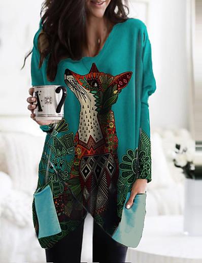 abordables Tendances 3D-Femme Robe Droite Mini robe Courte Manches Longues Animal Imprimé Automne Printemps Simple 2021 Bleu M L XL XXL 3XL