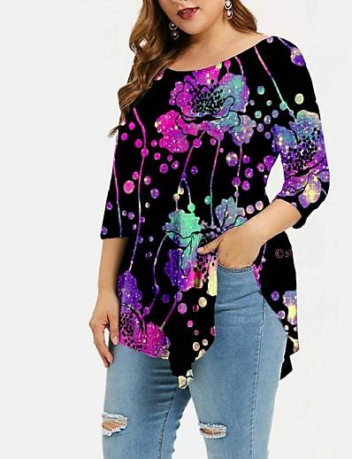 preiswerte Tops in Übergröße-Damen Übergröße Oberteile T-Shirt Druck Farbverläufe Große Größe Rundhalsausschnitt Langarm Große Größe / Übergrössen