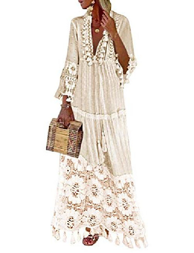 cheap Boho Dresses-Women's Swing Dress Maxi long Dress Light Pink Blue Yellow Beige 3/4 Length Sleeve Solid Color Spring & Summer V Neck Boho 2021 S M L XL XXL XXXL 4XL