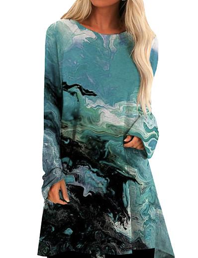 cheap 3D Trends-Women's Shift Dress Short Mini Dress Green Long Sleeve Print Print Fall Spring Round Neck Casual Loose 2021 M L XL XXL 3XL
