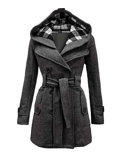 cheap WOMEN-Women's Coat Long Plaid Daily Vintage Black Red Blue Dark Gray S M L XL