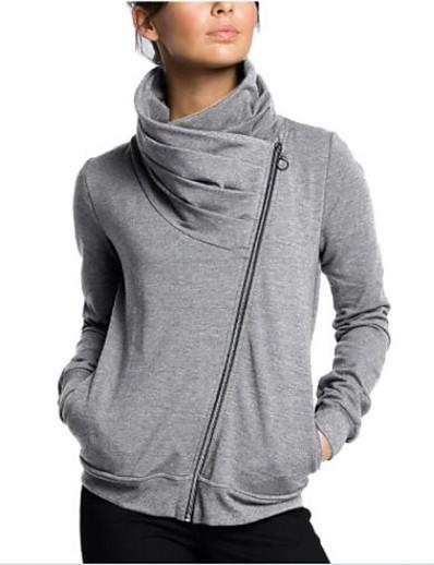 cheap Hoodies & Sweatshirts-Women's Zip Up Hoodie Sweatshirt Plain Casual Hoodies Sweatshirts  White Black Light gray