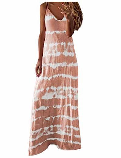 cheap Maxi Dresses-ulanda tie dye dresses for women summer beach dress casual spaghetti strap maxi dress sleeveless sling midi dress khaki