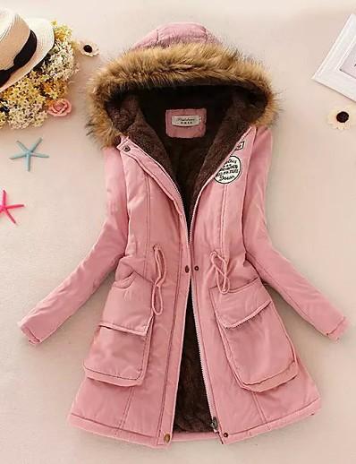 cheap Outerwear-womens hooded warm winter faux fur lined parkas long coats outdoor overcoat black xl