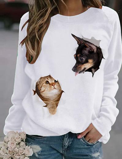 cheap Hoodies & Sweatshirts-Women's T shirt Cat Dog Animal Long Sleeve Print Round Neck Tops White