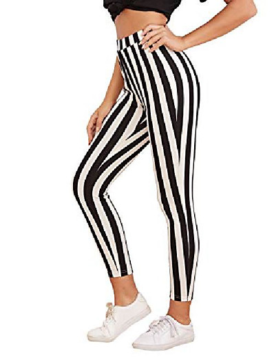 cheap Women's Bottoms-women's striped high waist workout leggings skinny yoga stretchy pants black and white xl