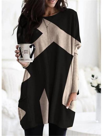 cheap Mini Dresses-Women's Shift Dress Short Mini Dress - Long Sleeve Color Block Patchwork Print Fall Winter Casual 2021 Red Khaki Dark Gray Brown S M L XL XXL 3XL