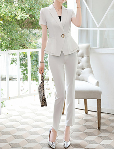 cheap OUTERWEAR-women's short sleeve summer notched lapel blazer suit jacket black