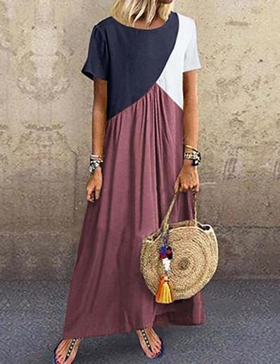 cheap Maxi Dresses-Women's Sheath Dress Maxi long Dress Purple Yellow Wine Khaki Green Dark Gray Brown Gray Short Sleeve Color Block Patchwork Fall Spring Round Neck Casual 2021 S M L XL XXL 3XL 4XL 5XL / Plus Size