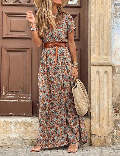 cheap Maxi Dresses-Women's Swing Dress Maxi long Dress Black Red Brown Short Sleeve Print Color Block Split Ruffle Button Spring Summer V Neck Classic & Timeless Vintage Boho Holiday Loose 2021 S M L XL XXL 3XL