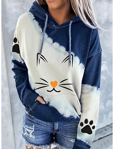 cheap Hoodies & Sweatshirts-Women's Pullover Hoodie Sweatshirt Graphic Christmas Daily Work Christmas Hoodies Sweatshirts  Blue