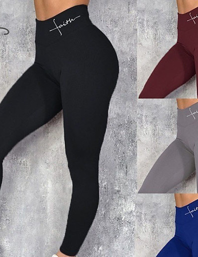 cheap Exercise, Fitness & Yoga-Women's High Waist Yoga Leggings Pants Tights Leggings Tummy Control Butt Lift Breathable Black Blue Claret-red Winter Sports Activewear Stretchy