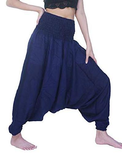 abordables Bas pour femmes-combinaison pantalon sarouel femme vêtements hippie (bleu classique, taille unique)