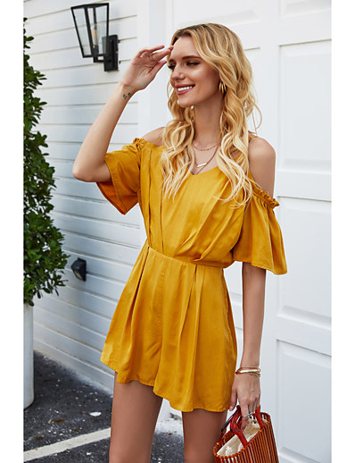 cheap Women's Rompers-Women's Basic Streetwear Yellow Romper Solid Colored Backless Patchwork