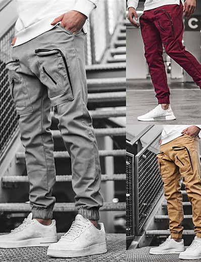 cheap Running, Jogging & Walking-Men's Street Joggers Cargo Pants Bottoms Cotton Zipper Pocket Gym Workout Running Jogging Training Exercise Normal Thermal Warm Breathable Soft Sport Solid Colored Wine Gray Khaki Black / Athleisure