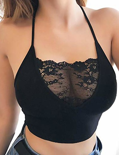 cheap Tank Tops-ladies pointed bra lace bralette bra padded cup women lingerie comfortable underwear short tank tops sexy sleeveless fashion vest shirt crop top