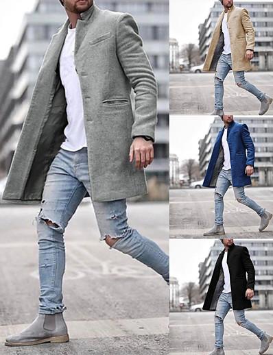 abordables Vêtements d'extérieur pour hommes-Homme Hiver Pardessus Longue Couleur Pleine Quotidien Manches Longues Coton Noir Kaki Bleu Marine Gris S M L XL / Travail