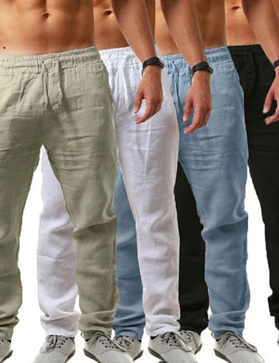 cheap Sportwear-men's linen pants casual long pants - loose lightweight drawstring yoga beach trousers casual trousers - 6 colors blue
