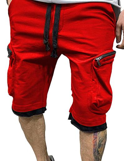 abordables Bas pour hommes-Homme Cargaison Chino Extérieur Short Pantalon cargo Pantalon Couleur Pleine Longueur genou Poche Blanche Noir Rouge