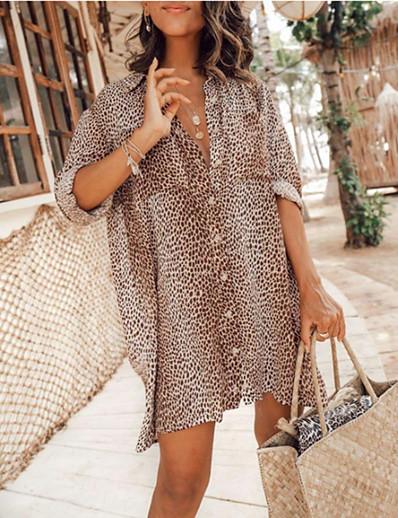 cheap Mini Dresses-Women's Shirt Dress Short Mini Dress Khaki Long Sleeve Leopard Leopard Print Button Spring Summer Shirt Collar Casual Sexy vacation dresses Lantern Sleeve 2021 S M L XL XXL