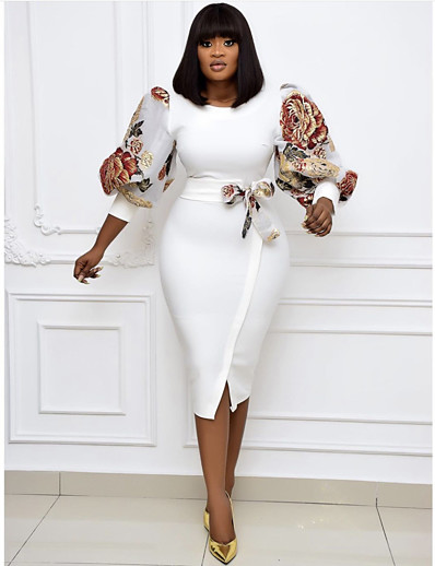 cheap Plus Size Dresses-Plus Size Women's A-Line Dress Knee Length Dress 3/4 Length Sleeve Print Bow Fall & Winter Work Puff Sleeve Cotton Blend Relaxed Fit
