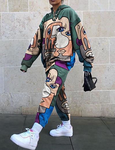 cheap JUMPSUITS & ROMPERS-Women's Streetwear Print Two Piece Set Sweatshirt Pant Loungewear Drawstring Tops