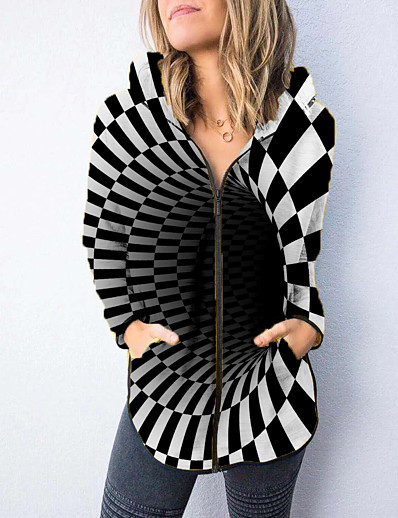 cheap 3D Trends-Women's Hoodied Jacket Fall & Winter Going out Work Regular Coat Loose 3D Print Sporty Active Jacket Long Sleeve Patchwork Print Print Color Block Black