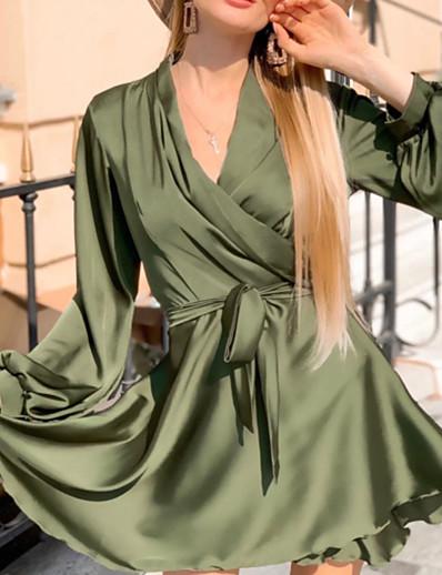 cheap Mini Dresses-Women's A-Line Dress Short Mini Dress - Long Sleeve Solid Color Ruched Lace up Fall Winter V Neck Casual Slim 2020 Black Blue Army Green Khaki Green Brown S M L XL XXL