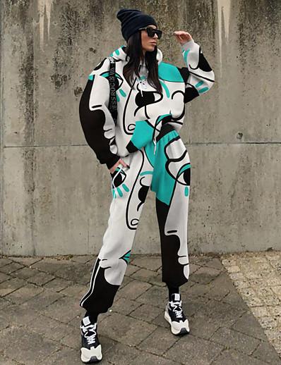 cheap Two Piece Set-Women's Streetwear Geometric Two Piece Set Sweatshirt Tracksuit Pant Loungewear Drawstring Tops