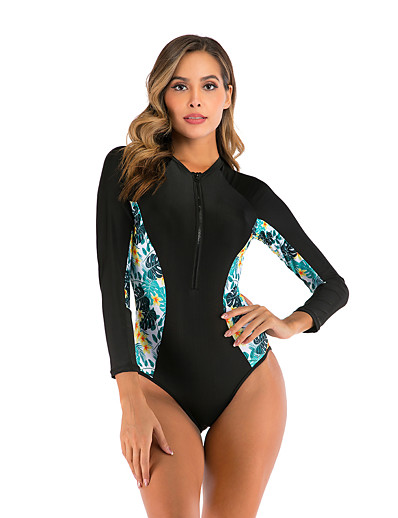 cheap Rash Guards-Women's Rash Guard Dive Skin Suit Diving Rash Guard One Piece Swimsuit Swimwear Waterproof Breathable Long Sleeve Patchwork - Swimming Surfing Water Sports Autumn / Fall Spring Summer / Micro-elastic