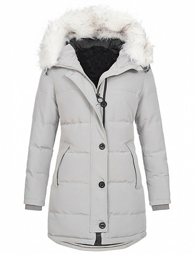 cheap Coats & Trench Coats-women's winter mid length cotton coat fur trimmed hooded thicken warm long jacket outwear (light grey,xxxx-large)