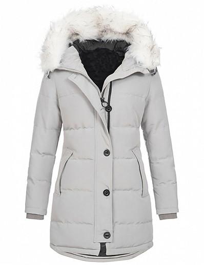 cheap OUTERWEAR-women's winter mid length cotton coat fur trimmed hooded thicken warm long jacket outwear (light grey,xxxx-large)