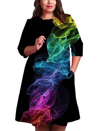 cheap 3D Trends-Women's Shift Dress Knee Length Dress 3/4 Length Sleeve Geometric Print Spring Summer Plus Size Casual 2021 Rainbow XXL 3XL 4XL 5XL 6XL