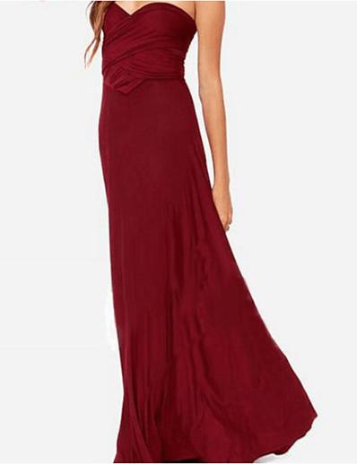 cheap Midi Dresses-Women's A Line Dress Maxi long Dress Sleeveless Solid Color Patchwork Bow Summer Work Elegant vacation dresses 2021 Red Wine Khaki Green Dusty Blue S M L XL XXL