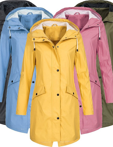 cheap Softshell, Fleece & Hiking Jackets-Women's Hoodie Jacket Hiking Windbreaker Hiking Jacket Cotton Outdoor Windproof Ultra Light (UL) UV Protection Quick Dry Outerwear Coat Parka Camping / Hiking Hunting Fishing Pink Blue Yellow Green