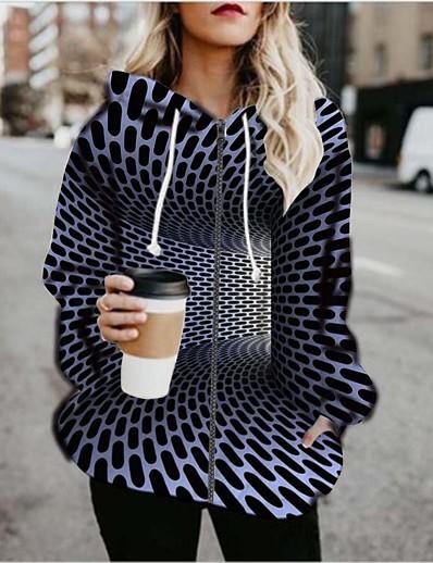 cheap 3D Trends-Women's Daily Going out Coat Regular Fit Basic Jacket 3D Print Long Sleeve Print Graphic 3D Blue