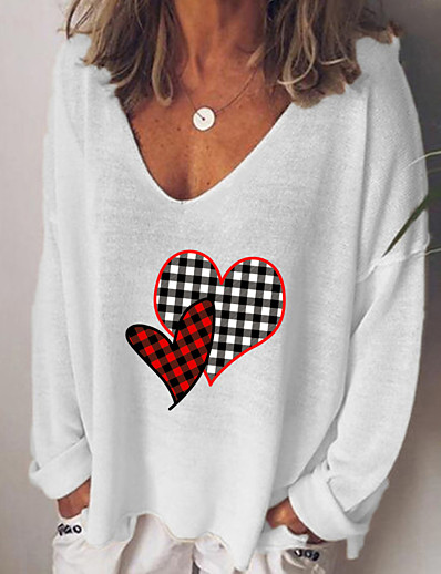 cheap Hoodies & Sweatshirts-Women's Stylish Geometric Women's Hoodies Long Sleeve Sweater Cardigans V Neck Fall White Black Blue