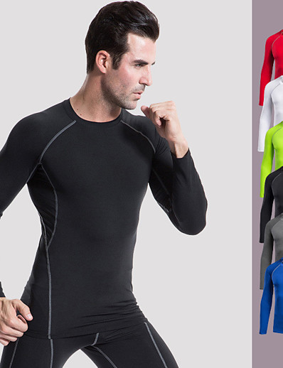 cheap Running, Jogging & Walking-YUERLIAN Men's Long Sleeve Compression Shirt Running Shirt Tee Tshirt Base Layer Top Top Athletic Summer Quick Dry Breathable Soft Elastane Fitness Gym Workout Basketball Running Cycling Sportswear