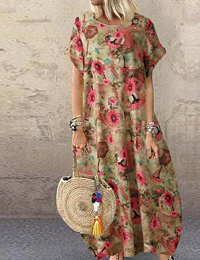 cheap Boho Dresses-Women's Swing Dress Maxi long Dress Blue Red Yellow Short Sleeve Floral Patchwork Print Fall Summer Round Neck Work Casual Cotton 2021 S M L XL XXL 3XL 4XL 5XL