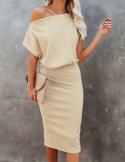 cheap Knee-Length Dresses-Women's Sweater Jumper Dress Knee Length Dress - Short Sleeve Solid Color Patchwork Spring Fall Off Shoulder Casual Going out 2020 Black Blue Camel S M L XL