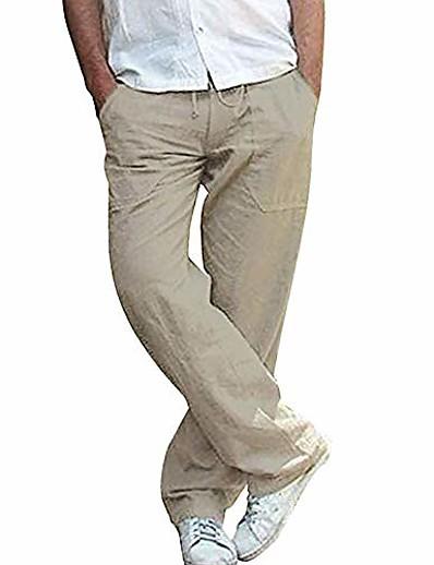 cheap Men's Bottoms-mens casual linen trousers lightweight Drawstring waist pants Straight breathable yoga gym summer pants dark khaki