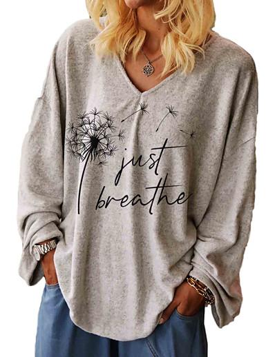 cheap Hoodies & Sweatshirts-Women's Plus Size Tops T shirt Graphic Letter Long Sleeve V Neck Fall Summer Gray Big Size L XL 2XL 3XL / Loose