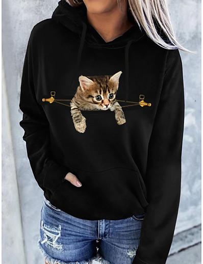 cheap Hoodies & Sweatshirts-Women's Pullover Hoodie Sweatshirt Cat Graphic 3D Front Pocket Daily Basic Casual Hoodies Sweatshirts  Black