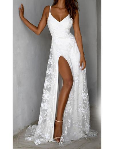 abordables Robes Midi-Femme Robe Fourreau Robe Maxi longue Sans Manches Couleur unie Dos Nu Fendu Dentelle Automne Printemps Elégant Sexy 2021 Blanche S M L XL